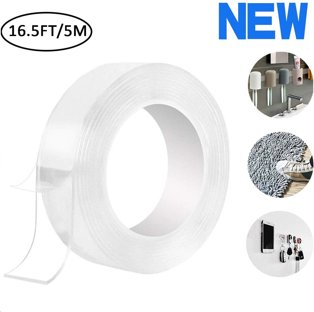 The Reusable Adhesive Silicone Tape Anti-Slip Double Sided Sticky Strips Double Sided Carpet Tape A-5m