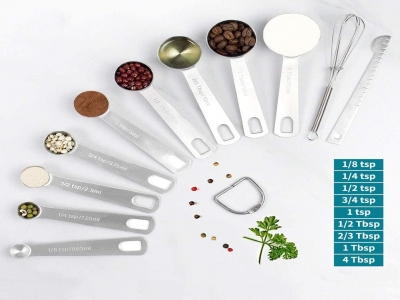 11 pcs Measuring Spoons Stainless Steel Set, Consist of 9 Stack table Removable Etched Markings Metal Spoons, Leveler and Whisk, for Spice Jars Kitchen Measuring Dry and Liquid Ingredients